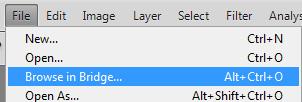 File > Browse in Bridge