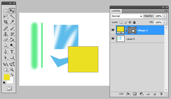 The shape layer remains separated from the background