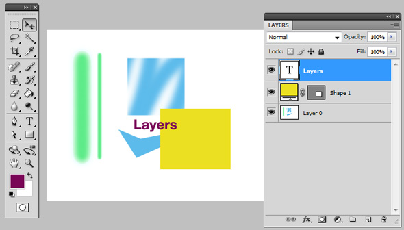 Type tool creates a new layer