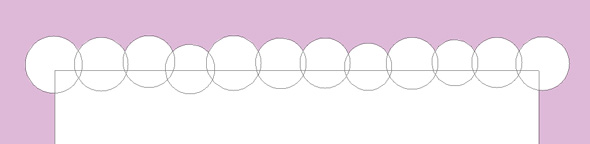 draw a line of circles along the top of the rectangle