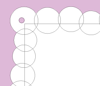 subtract a circlular shape in each of the 4 corner circles