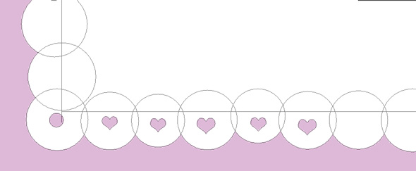 subtract a heart shape from each of the bottom circles