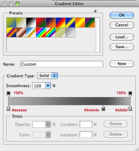 set the gradient colours