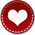 Heart red stitch icon
