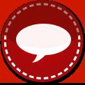 Speech bubble red stitch icon