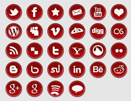 red sitched icon set