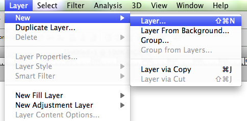 Create a new layer using the top menu