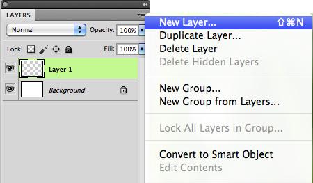 New Layer using layer palette menu
