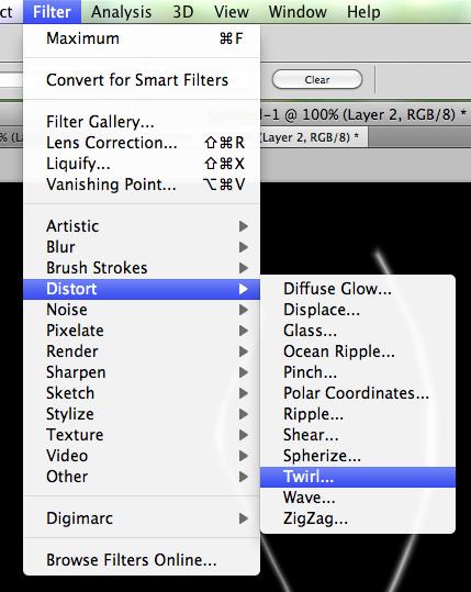 Choose Filter > Distort > Twirl