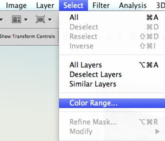 Select > Colour Range