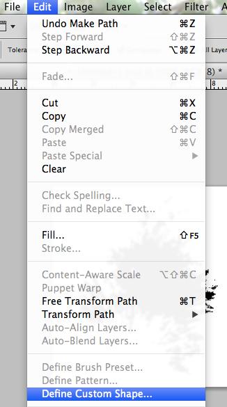 Edit > Define Custom Shape